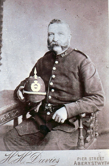 PC David Davies during his service with the Cardiganshire Constabulary at Llanddewi Brefi from 1896.